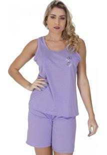 Short Doll Click Chique Camiseta E Elástico Embutido Roxo