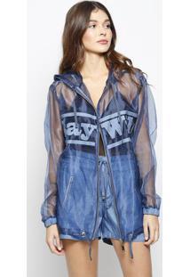 Jaqueta Em Tule Com Transparência- Azul- Zincomorena Rosa