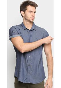 Camisa Jeans Reserva Manga Curta Masculina - Masculino-Azul Escuro