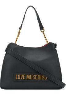Love Moschino Logo Lettering Tote Bag - Preto