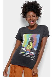 Camiseta Coca-Cola Estampada Feminino - Feminino-Preto