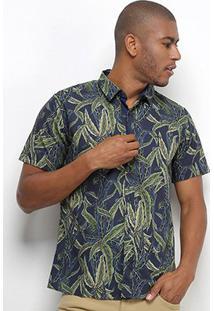 Camisa Colcci Folhagem Classic Masculina - Masculino-Marinho+Verde