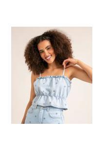 Blusa Cropped Jeans Alça Fina Com Bordado Floral E Babados Azul Claro
