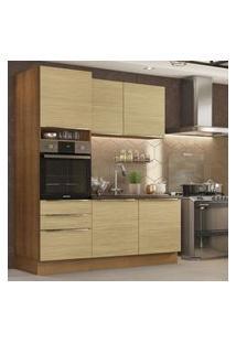 Cozinha Compacta Madesa Lux Com Armário E Balcáo 5 Portas 3 Gavetas - Rustic/Carvalho Marrom
