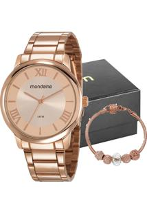 Kit Relógio Mondaine Feminino Com Pulseira 53803Lpmgre3K1