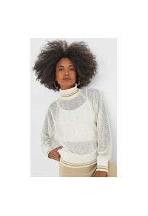 Blusa Tricot Dimy Raglan Paetê Off-White