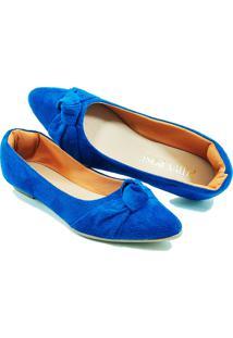 Sapatilha Confort - Enfeite De Nó - Camurça Azul Bic - Tricae