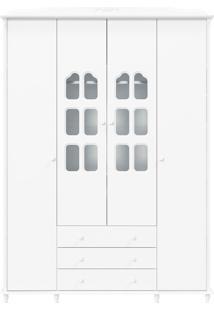 Guarda-Roupa 4 Portas Provence Branca-Acetinado Matic Móveis