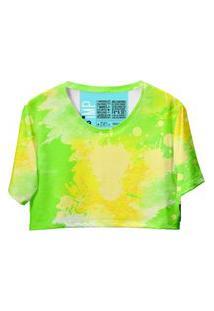 Blusa Cropped Feminina Estampa Tie Dye Casual Dia A Dia Amarelo G Amarelo