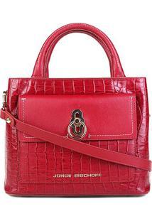 Bolsa Couro Jorge Bischoff Mini Bag Transversal Feminina - Feminino-Vermelho