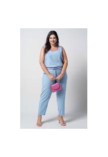 Conjunto Liso Almaria Plus Size New Umbi Viés Contrastante Azul