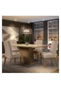 Conjunto Sala De Jantar Madesa Sabrina Mesa Tampo De Vidro Com 4 Cadeiras - Rustic/Crema/Imperial