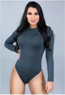 Body Manga Longa Mvb Modas Costa Nua Feminino - Feminino