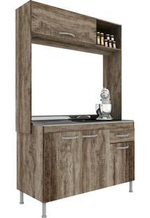 Cozinha Compacta 4 Portas 2 Gavetas Pop New Rústico - Manto Móveis
