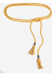 Cinto Dudalina Trança Couro Feminino (Amarelo Medio, Un)