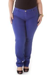 Calça Plus Size - Confidencial Extra Cigarrete Jeans Sarja Azul