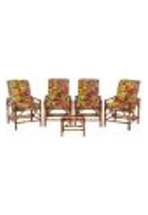 Conjunto Mesa E 4 Cadeiras De Bambu Cancun Para Área Edicula Jardim G09