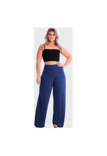 Calça Pantalona Com Bolso Cintura Alta Plus Size Lynnce Azul Marinho