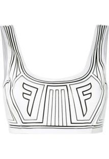 Fendi Blusa Cropped Com Logo - Branco