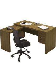 Mesa Em L Para Escritório Com 3 Gavetas Me4106 Tecno Mobili Amendoa