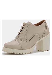 Bota Sapato Ankle Boot Em Couro Estilo Pleno Qa1900 Off White