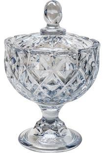 Bomboniere Com Tampa Crown- Cristal & Cinza Claro- 1Rojemac