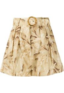 Zimmermann Belted Box-Pleated Shorts - Neutro