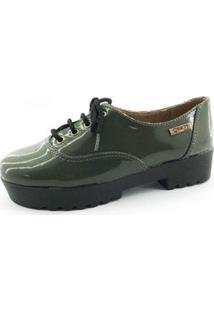 Oxford Quality Shoes Tratorado Verniz Feminino - Feminino-Verde