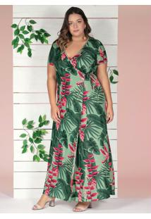 Vestido Longo Transpassado Folhagem Plus Size