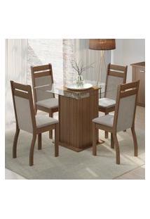 Conjunto Sala De Jantar Madesa Nice Mesa Tampo De Vidro Com 4 Cadeiras Marrom