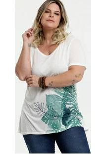Blusa Feminina Estampa Tropical Plus Size Manga Curta Marisa