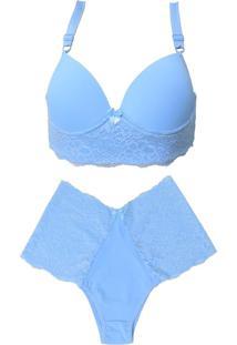 Conjunto Plus Size Vip Lingerie Poliamida E Renda Azul