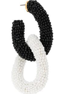 Oscar De La Renta Link Beaded Earrings - Preto