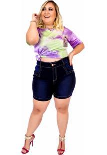 Short Jeans Feminino Plus Size Com Lycra Cintura Alta Cos Desfiado Amaciada