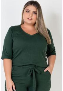 Blusa Básica Plus Size Em Ribana Verde