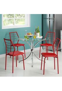 Mesa 375 Vidro Incolor Cromada Com 4 Cadeiras 1716 Vermelha Carraro