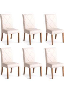 Conjunto Com 6 Cadeiras De Jantar Bali Ii Branco E Castanho