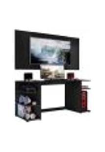 """Mesa Gamer Escrivaninha Com Painel Tv 55"""" Guilda Multimóveis Preta"""