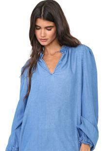 Blusa Jeans Gap Babados Azul - Azul - Feminino - Liocel - Dafiti
