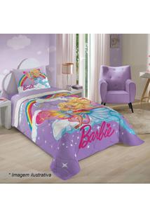 Edredom Barbie® Reinos Mágicos Solteiro- Lilás & Rosa