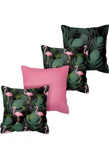 Kit Com 4 Capas Para Almofadas De Flamingos Armonizzi