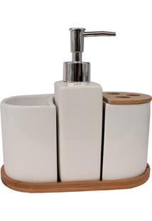 Kit De Acessórios Para Banheiro Em Cerâmica Com 4 Peças Branco E Bambu