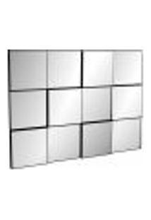 Espelho Decorativo 3D Quadriculado Winter D03 100 Cm Moldura Preto Brilho - Lyam Decor