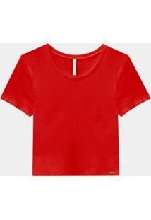 Blusa Cropped Canelada Básica Vermelho