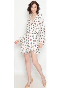 Vestido Borboletas Com Amarração- Off White- Aboutabout