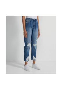 Calça Mom Jeans Com Cós Elástico E Puídos | Blue Steel | Azul | 34