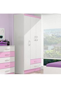 Guarda Roupa Infantil 3 Portas E 2 Gavetas Evidência Móveis Branco Com Rosa