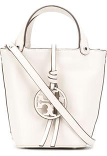 Tory Burch Bolsa Saco Com Logo - Branco