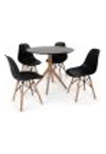 Conjunto Mesa De Jantar Maitê 80Cm Preta Com 4 Cadeiras Charles Eames - Preta