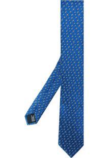 Lanvin Gravata De Seda Com Estampa De Estrelas - Azul
